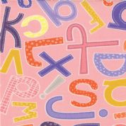 Moda - ABC Menagerie - 3085 - Alphabet on Pink, Multi Colour - 39522-17 - Cotton Fabric
